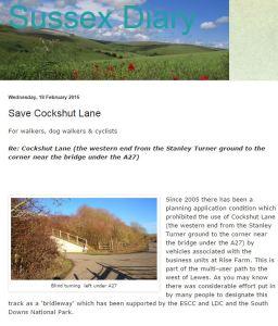 Vic's blog on Cockshut Lane