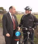 Archive photo of Norman Baker and Vic Ient at the Kingston to Lewes cycle path